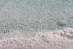 The Dead Sea. Salty water and salt forms, texture and transparency of the Dead Sea, Israel Royalty Free Stock Photos