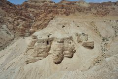 Dead Sea Scroll Caves. Caves where the Dead Sea Scrolls were found in Qumran, Israel Stock Images