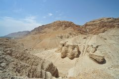 Dead Sea Scroll Caves. Caves where the Dead Sea Scrolls were found in Qumran, Israel, looking south Stock Image
