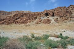 Dead Sea Scroll Caves. Cave 1 where the first Dead Sea Scrolls were found in Qumran, Israel; this was where the Great Isaiah scroll was discovered, a nearly Royalty Free Stock Image