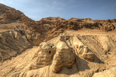 Dead Sea Scroll Caves. Qumran cave 4, one of the caves in which the scrolls were found at the ruins of Khirbet Qumran in the desert of Israel Royalty Free Stock Image