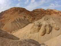 Dead Sea Scroll Caves, Qumran, Israel. One of the Qumran caves in which the Dead Sea scrolls were found Stock Images