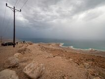 Dead Sea seen from the Highway 90 on a rainy day, Israel