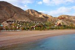 Dead Sea Shoreline. Dead Sea salty waters & shoreline stock photo