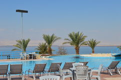 Dead Sea Spa Resort. Luxury outdoors swimmingpool at a resort at the shores of the Dead Sea Royalty Free Stock Images