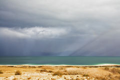 The Dead Sea during a spring thunder-storm Royalty Free Stock Image