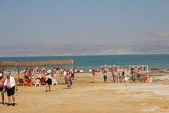 Dead Sea Swimming in Israel. Dead Sea in Israel - Ein Gedi Spa Stock Photo