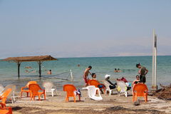 Dead Sea Swimming in Israel Stock Photo