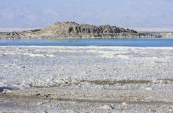 Dead sea textures. Salt mineral coating above dead sea royalty free stock photos