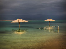Dead Sea Umbrellas Stock Photography