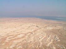 Dead Sea view. From Masada. Salty barren earth, drying sea Stock Photo