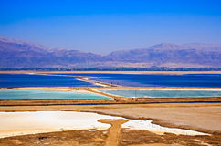 Dead Sea View from a cliff in the area of Sodom road Royalty Free Stock Photography