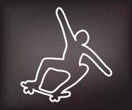 Dead skateboarder silhouette Royalty Free Stock Image