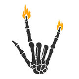 Dead skeleton hand burning rock sign isolated vector illustration Royalty Free Stock Images