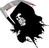 Dead skull. Death with the bloody sword Stock Images