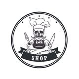 Dead Skull Chef Grinning with For, Knive, and Hat. Restaurant Logo Template. Circle Vector Drawing Stock Images