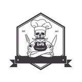 Dead Skull Chef Grinning with For, Knive, and Hat. Restaurant Logo Template. Hexagon Vector Drawing Royalty Free Stock Image