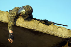 Dead soldier. Lying dead soldier in camouflage uniform stock photography