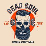 Dead soul. Bearded skull on grunge background. Design element for t shirt, poster, card, banner. Vector image Royalty Free Stock Photo