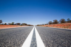 Dead Straight Road. In the outback Royalty Free Stock Photo