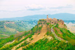 The dead town, Civita di Bagnoregio, so called because the tuff which is built and on which is laying eroded from weather Stock Images