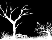 Dead tree on black background. Black background with dead trees, set of pumpkins Royalty Free Stock Image