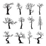 Dead tree without leaves, collection of trees silhouettes. Vector illustration on white background .EPS 10 Stock Photo