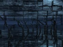 Dead trees. Reflection on a wall of cubes - 3d illustration Stock Photo