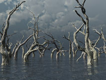 Dead trees. At a dark water landscape - 3d illustration Royalty Free Stock Photos