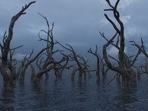 Dead trees. At a dark water landscape - 3d illustration Stock Photo