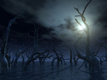Dead trees. At a dark water landscape - 3d illustration Royalty Free Stock Photo