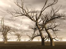 Dead trees - 3D render. Many dead trees in the desert by brown cloudy day Stock Photography