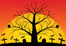 Dead trees with bats. Halloween background with bats the dead trees and big sunrise. Vector illustration Royalty Free Stock Photo