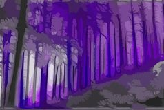 Dead trees blackness. Halloween design. Magic forest in violet and halloween colors. Fantasy art. Secret land. Dead trees Stock Photo
