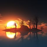 Dead trees island and sunset Stock Image