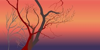 Dead trees at night dusk time after sunset violet, red, and orange light - Concepts of Halloween, Friday the 13th, mystery. Vector illustration, EPS10. Dark Stock Photo