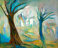 Dead trees. Original oil painting of two dead trees in the wood on canvas.Modern Impressionism Royalty Free Stock Images