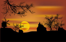 Dead trees and windmill at sunset. Illustration with dead trees and windmill at sunset Royalty Free Stock Photo