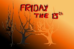 Dead trees in yellow and red light - Concepts of Halloween, Friday the 13th, mystery. Vector illustration, EPS10. Black and orange area on the bottom is for Royalty Free Stock Photography