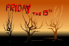 Dead trees in yellow and red light - Concepts of Halloween, Friday the 13th, mystery. Vector illustration, EPS10. Black and orange area on the bottom is for stock illustration