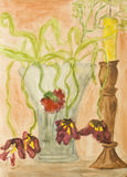 Dead tulips, painting Stock Images