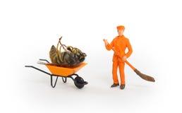 Dead wasp in a miniature wheelbarrow Royalty Free Stock Photography