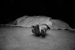 Dead woman's body. Focus on hand Stock Images