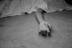 Dead woman's body. Focus on hand. The dead woman's body. Focus on hand Stock Images