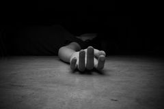 The dead woman's body. Focus on hand. Cry for help Royalty Free Stock Photos