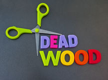 Dead wood. Text cutting 'dead wood' in colorful uppercase letters surrounded by scissors , concept of making staff redundant, dark background Stock Photos