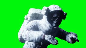Dead zombie astronaut in space. Cadaver. Green screen. 3d rendering. Dead zombie astronaut in space. Cadaver. Green screen. 3d rendering Royalty Free Stock Image