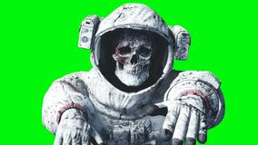 Dead zombie astronaut in space. Cadaver. Green screen. 3d rendering. Dead zombie astronaut in space. Cadaver. Green screen. 3d rendering Stock Image