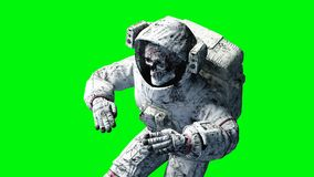 Dead zombie astronaut in space. Cadaver. Green screen. 3d rendering. Dead zombie astronaut in space. Cadaver. Green screen. 3d rendering Royalty Free Stock Photography