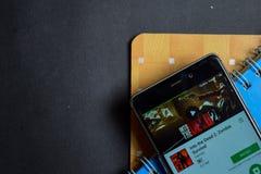 Into the Dead 2: Zombie Survival dev app on Smartphone screen. BEKASI, WEST JAVA, INDONESIA. SEPTEMBER 23, 2018 : Into the Dead 2: Zombie Survival dev app on stock photo